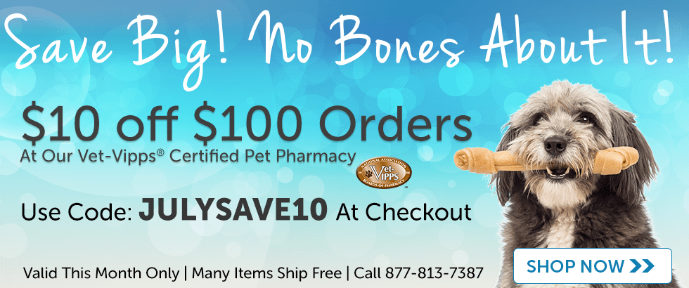 Save $10 off $100 at our Pet Pharmacy